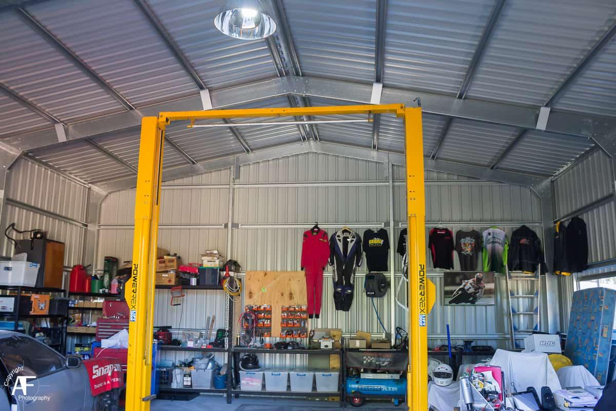 Gable Roof Workshop Shed with Car Hoist